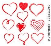 vector hearts set. hand drawn. | Shutterstock .eps vector #178811060