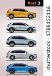 vector set of cars. Audi (top to bottom) Q2, Q3, Q5,Q7, Q8.
