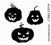 black silhouette pumpkin with... | Shutterstock .eps vector #1788135929