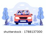 happy family travelling in car... | Shutterstock .eps vector #1788137300