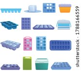 Ice Cube Trays Icons Set....