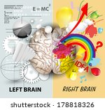 left and right brain functions | Shutterstock .eps vector #178818326
