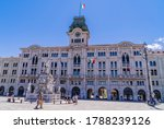 Small photo of Trieste, Italy - July 23, 2020 - Trieste City Hall on the Piazza Unità d'Italia (Square of the Unity of Italy), the main square in Trieste next to the sea