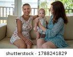 two girlfriends couple women at ... | Shutterstock . vector #1788241829