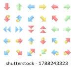 arrows icons flat color set...
