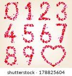 floral numbers set. vector... | Shutterstock .eps vector #178825604