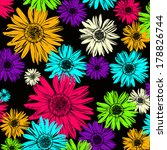 Pattern With Abstract Flowers...