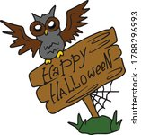 an owl sits on a sign with the... | Shutterstock .eps vector #1788296993