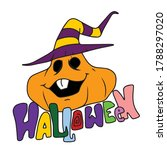 smiling pumpkin in a hat and... | Shutterstock .eps vector #1788297020