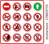 Prohibited symbols set signs on paper sticker, vector illustration