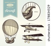 hand drawn vintage aircraft... | Shutterstock .eps vector #178834529