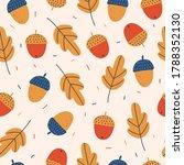 acorns and oak tree seamless...   Shutterstock .eps vector #1788352130