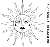 mistycal sun with eyes nose and ... | Shutterstock .eps vector #1788367793