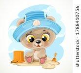 Cute Cartoon Baby Bear With A...