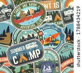 Summer Camp Colorful Seamless...