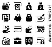black money icons set  for...   Shutterstock .eps vector #178843619