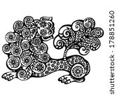 mythological lion with a curly... | Shutterstock . vector #178851260