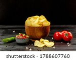 Potato Chips And Vegetables In...