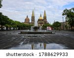 """Small photo of The Plaza de la Liberacion is an esplanade located between the cathedral of Guadalajara and the Teatro Degollado. The Plaza is also known as the """"Plaza de las Dos Copas"""", because of its two fountains"""