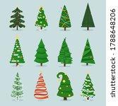 christmas tree set. isolated... | Shutterstock .eps vector #1788648206
