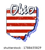 american flag in ohio state map.... | Shutterstock .eps vector #1788655829