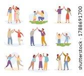 characters joyful give five set....   Shutterstock .eps vector #1788691700