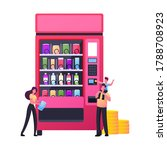 tiny characters buying snacks...   Shutterstock .eps vector #1788708923