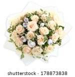 Floristic composition with pink roses and seashells. The isolated image on a white background. Cream roses and shell. - stock photo