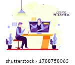 faceless businessman and woman... | Shutterstock .eps vector #1788758063