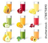 fresh juice in glasses with... | Shutterstock .eps vector #178875890