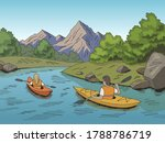 Kayak Boat Travel Graphic Colo...