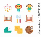 simple set baby elements vector ...