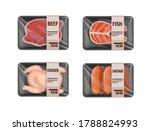 raw meat variation in plastic... | Shutterstock .eps vector #1788824993