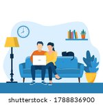 young couple using a laptop... | Shutterstock .eps vector #1788836900