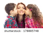 Portrait Of Children Kissing...