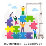 people connecting pieces of... | Shutterstock .eps vector #1788859139