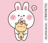 cute rabbit with dog in cartoon.... | Shutterstock .eps vector #1788938750