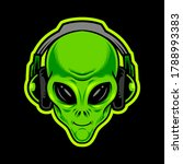 alien green head with...