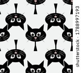 black cat head seamless pattern ... | Shutterstock .eps vector #1788997193