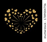 heart firework gold. beautiful... | Shutterstock . vector #1789004756
