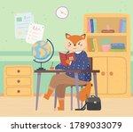 lovely cute fox schoolgirl with ... | Shutterstock .eps vector #1789033079