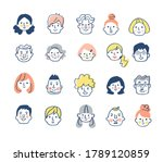 face set of various people | Shutterstock . vector #1789120859