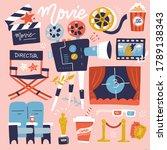 set of cinema flat colored... | Shutterstock .eps vector #1789138343
