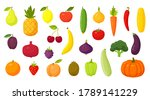 set of fruits  vegetables and... | Shutterstock .eps vector #1789141229
