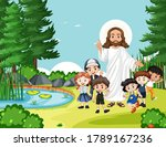 jesus with children in the park ... | Shutterstock .eps vector #1789167236