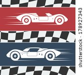 two fast moving vintage race... | Shutterstock .eps vector #178927343