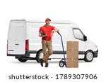 White delivery van and a male worker with boxes and a hand truck isolated on white background - stock photo