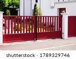 Aluminum Dark Red Metal Gate Of ...