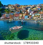 parga boat   heaven on earth    ... | Shutterstock . vector #178933340
