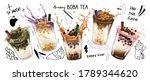 bubble milk tea design... | Shutterstock .eps vector #1789344620